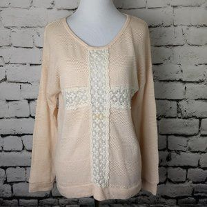 Lightweight Peach Colored Knit Sweater w Lace